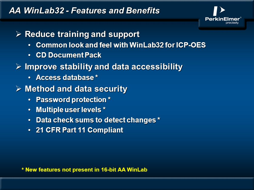 AA WinLab32 - Features and Benefits