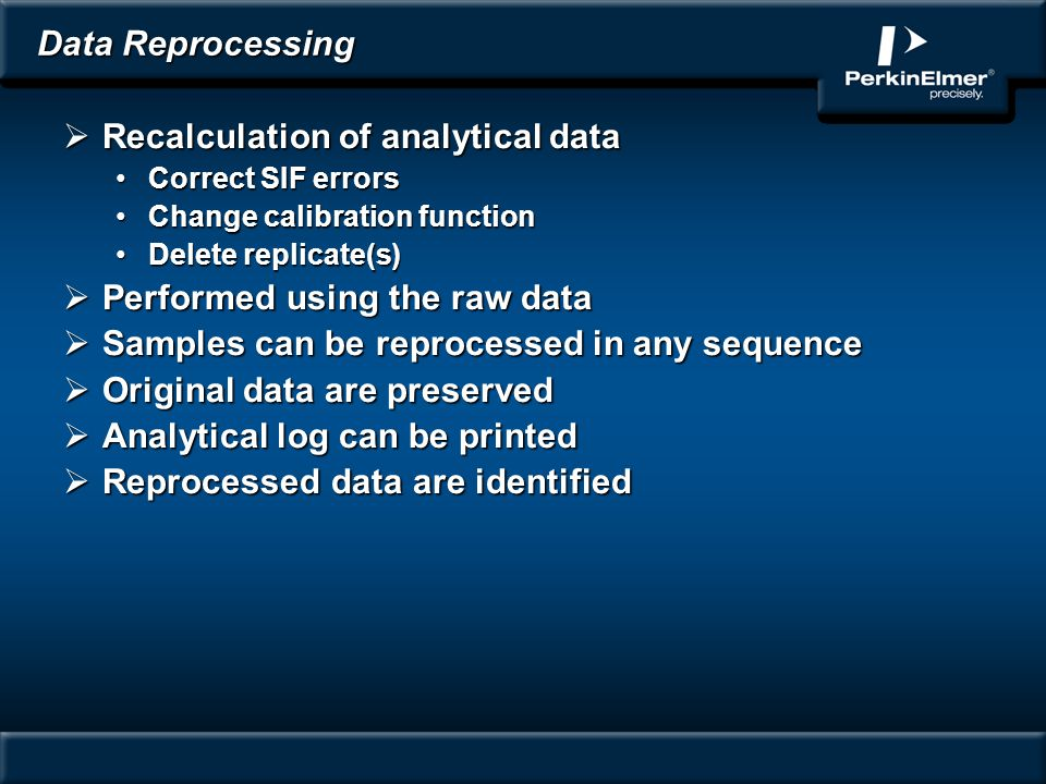 Recalculation of analytical data