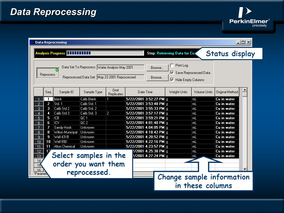 Data Reprocessing Status display