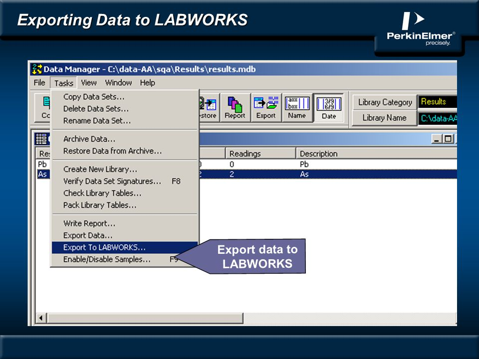 Exporting Data to LABWORKS