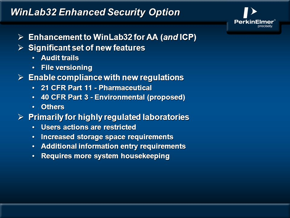 WinLab32 Enhanced Security Option