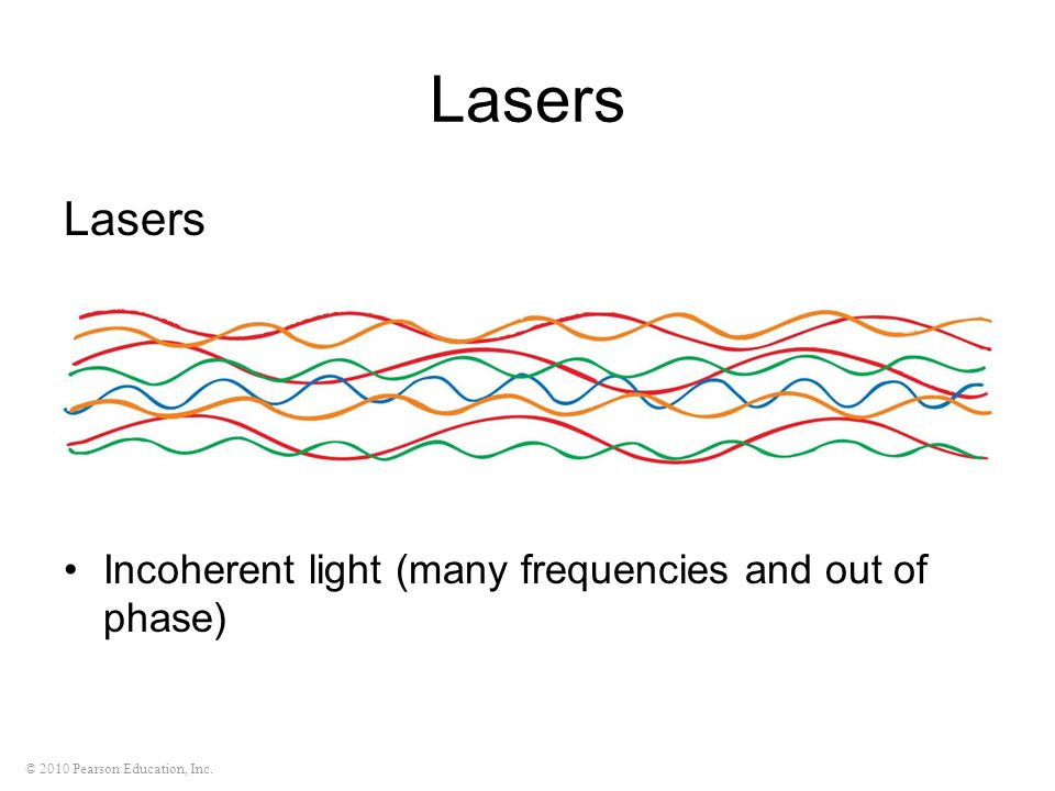 Lasers Lasers Incoherent light (many frequencies and out of phase)