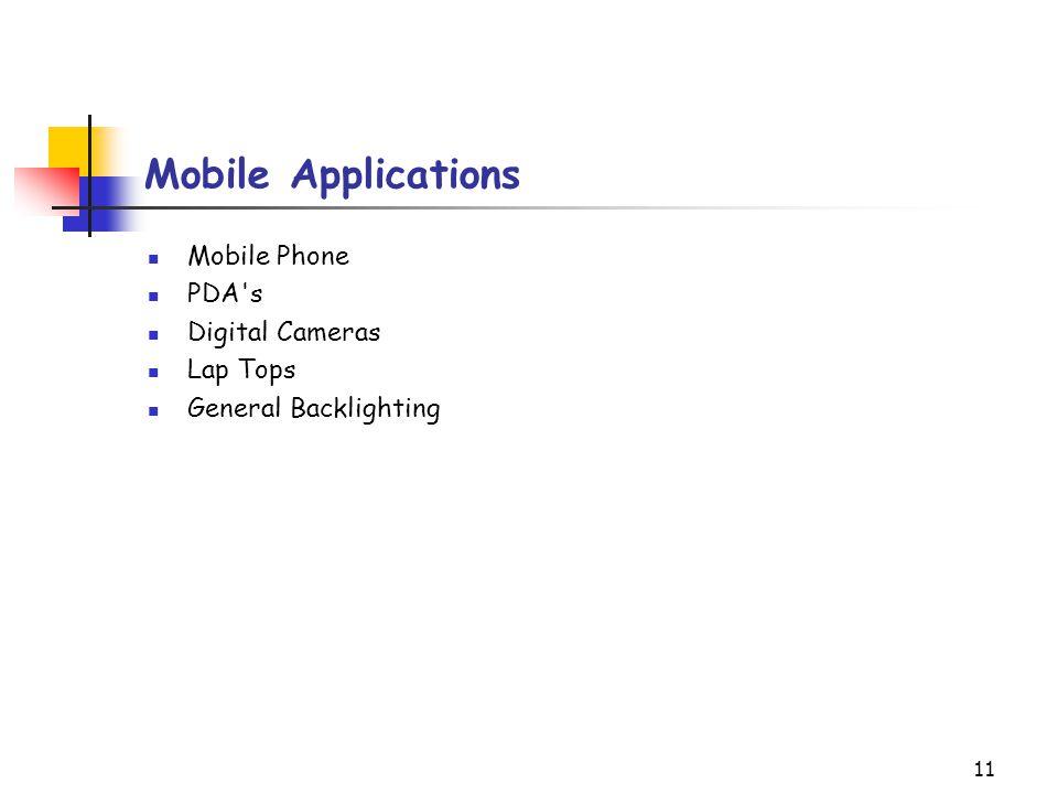 Mobile Applications Mobile Phone PDA s Digital Cameras Lap Tops
