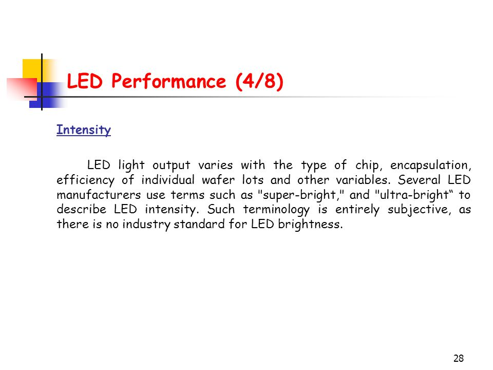 LED Performance (4/8) Intensity