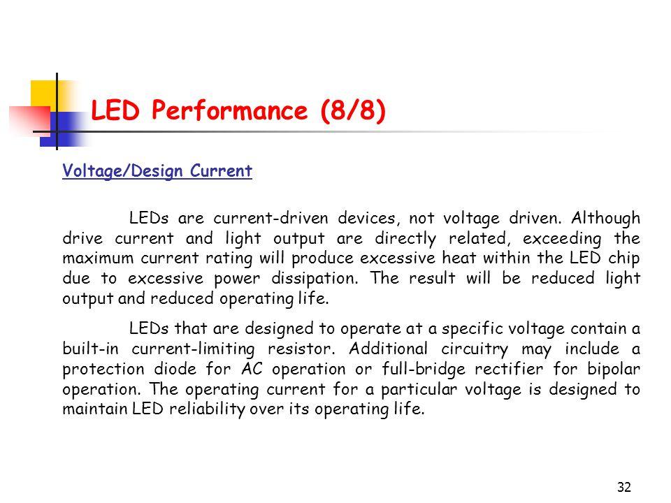 LED Performance (8/8) Voltage/Design Current
