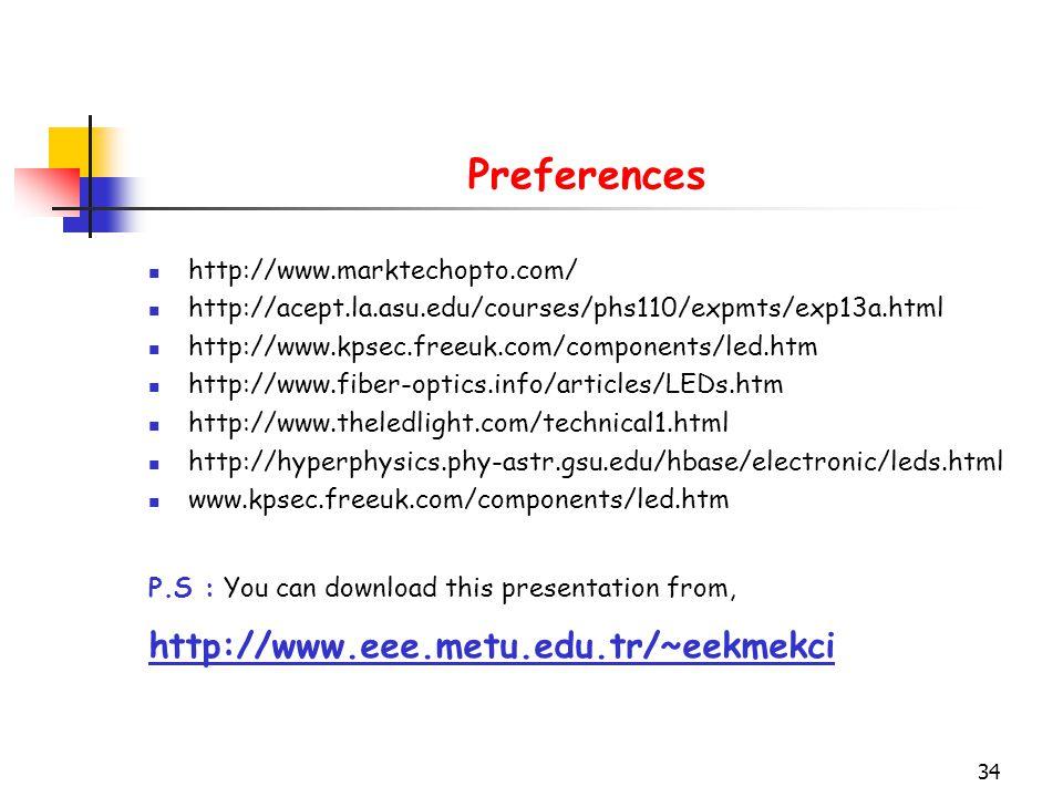 Preferences http://www.eee.metu.edu.tr/~eekmekci