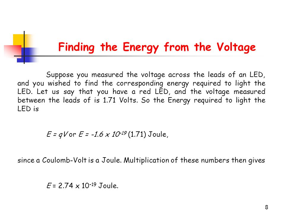 Finding the Energy from the Voltage