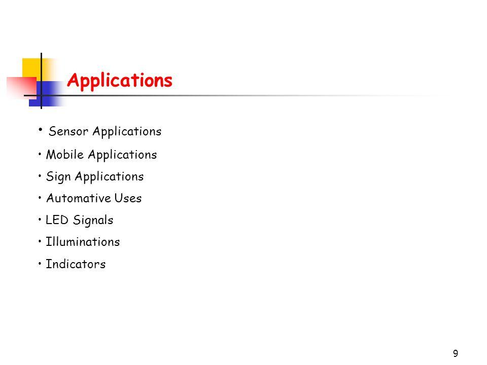 Applications Sensor Applications Mobile Applications Sign Applications