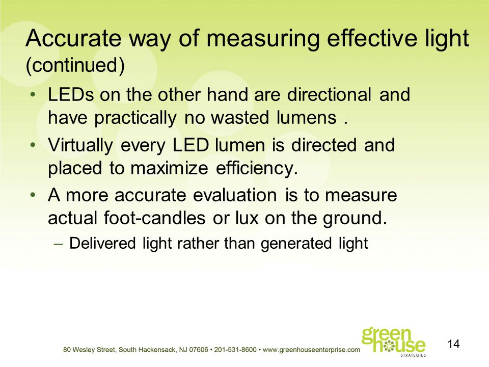 Accurate way of measuring effective light (continued)