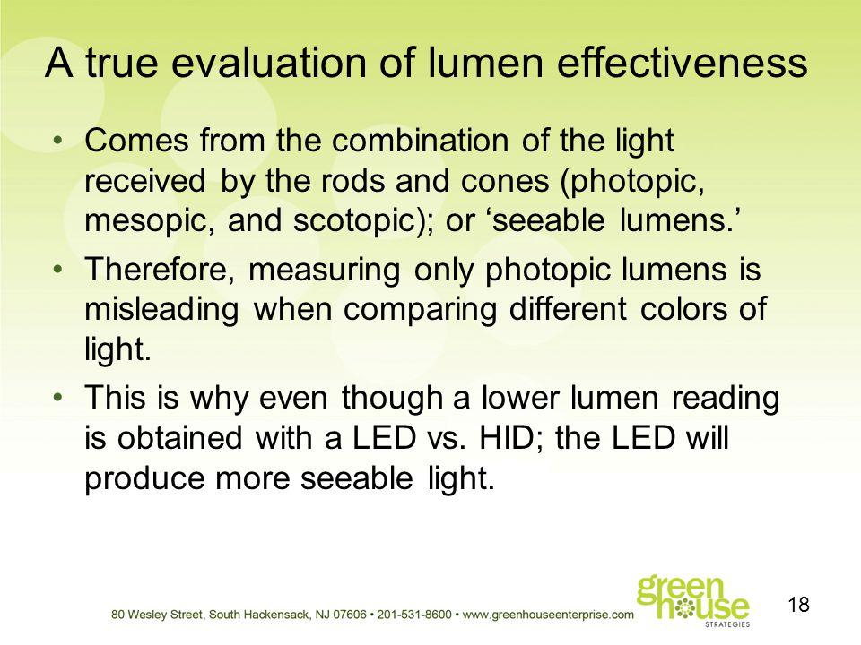 A true evaluation of lumen effectiveness