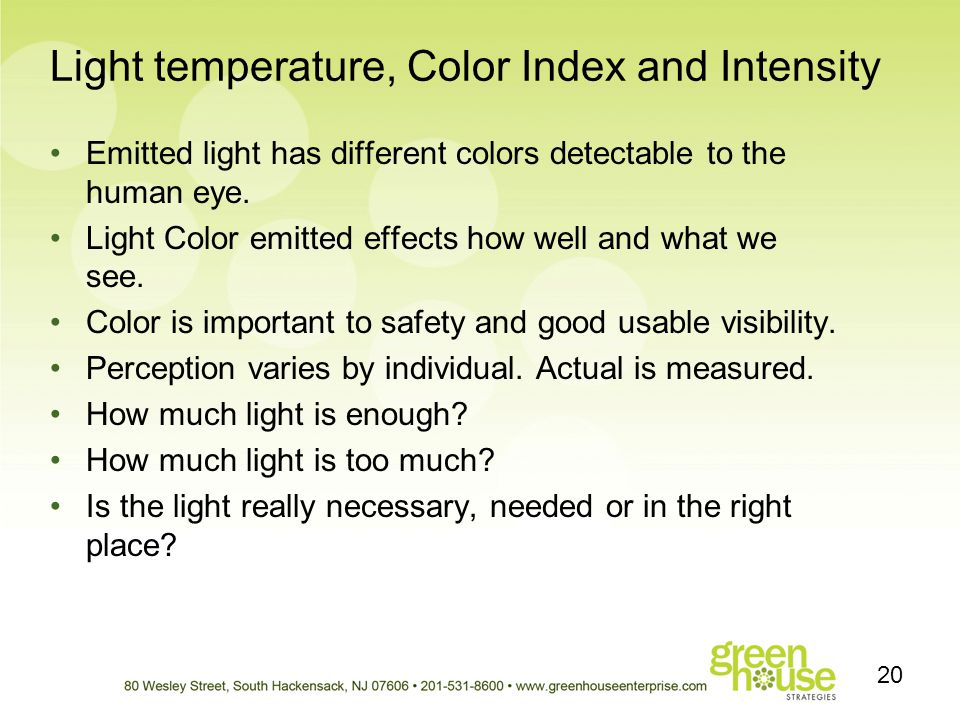 Light temperature, Color Index and Intensity