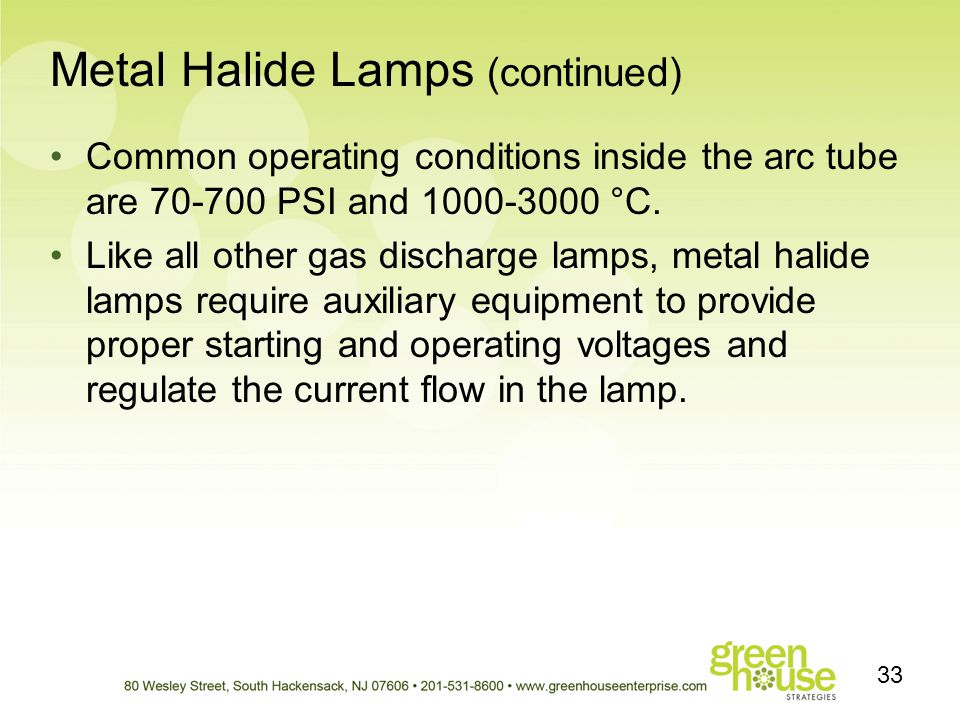 Metal Halide Lamps (continued)