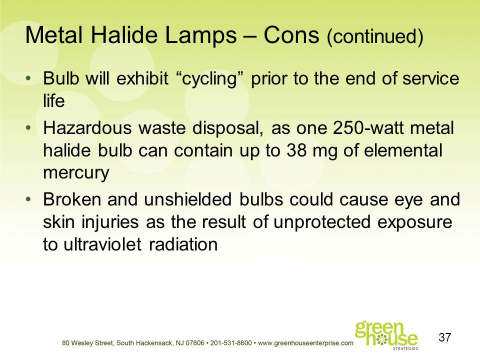 Metal Halide Lamps – Cons (continued)