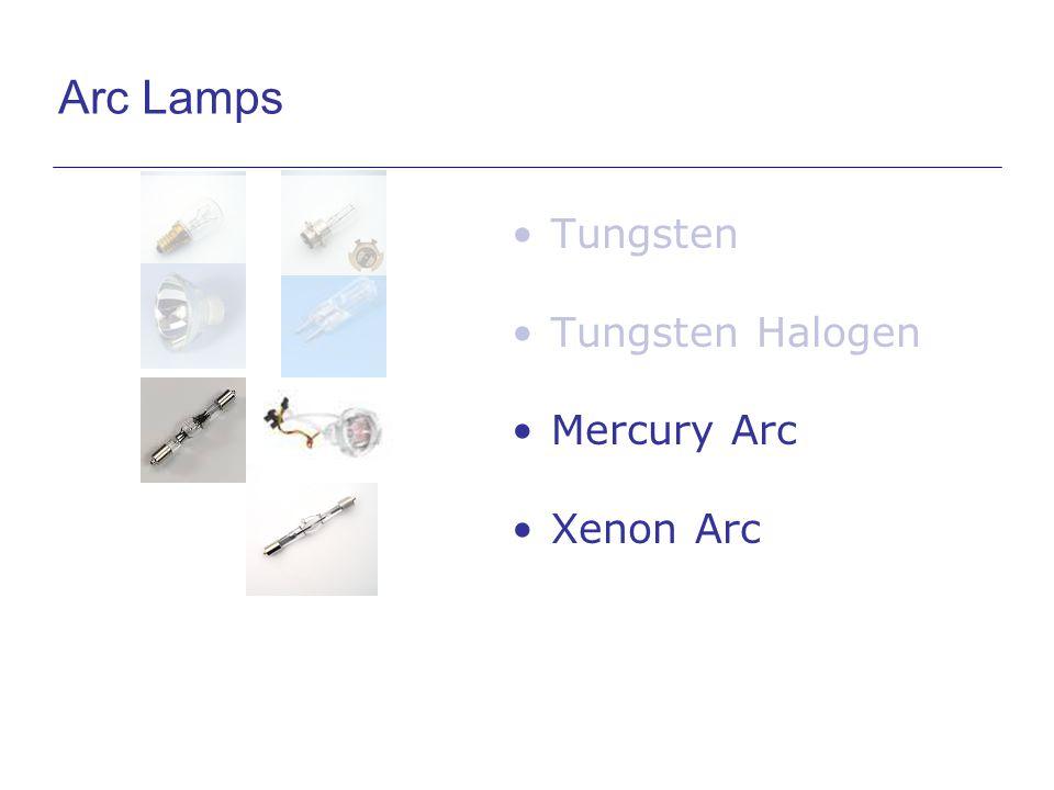 Arc Lamps Tungsten Tungsten Halogen Mercury Arc Xenon Arc