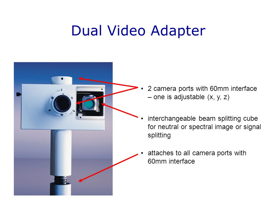 Dual Video Adapter 2 camera ports with 60mm interface – one is adjustable (x, y, z)