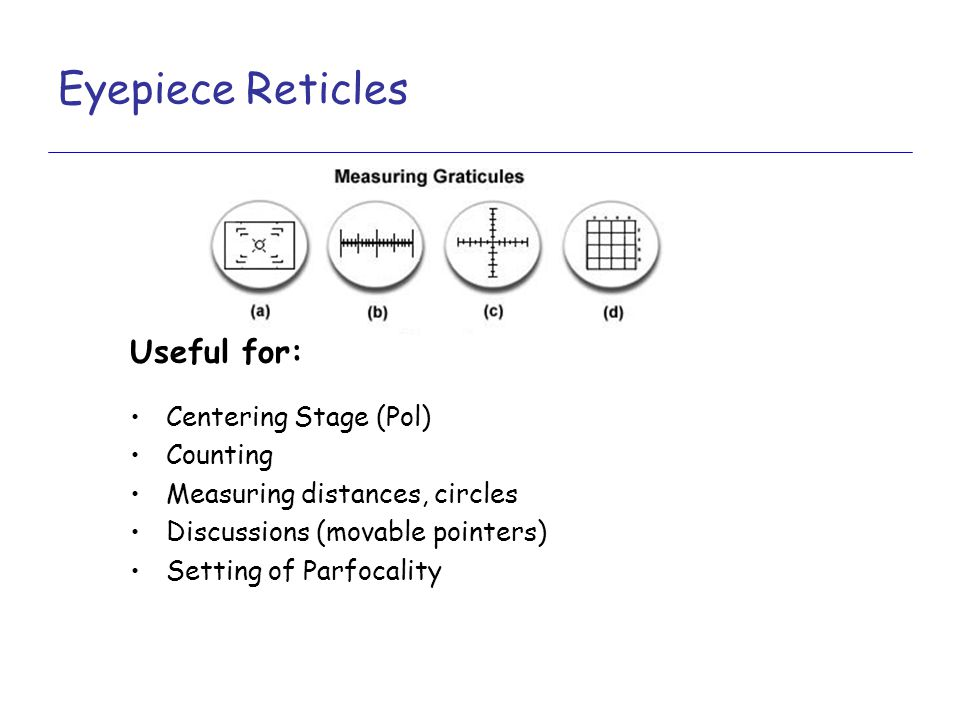 Eyepiece Reticles Useful for: Centering Stage (Pol) Counting