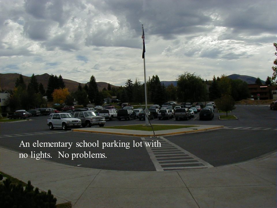 An elementary school parking lot with