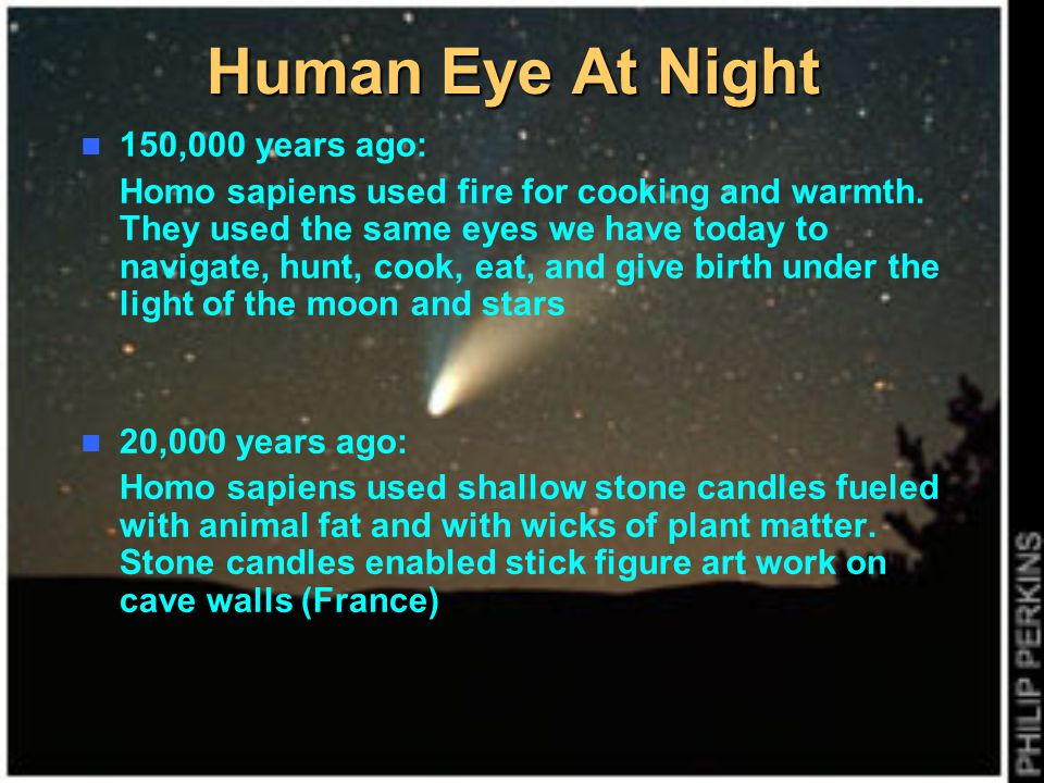 Human Eye At Night 150,000 years ago:
