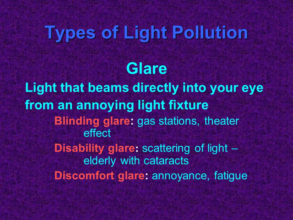 Types of Light Pollution