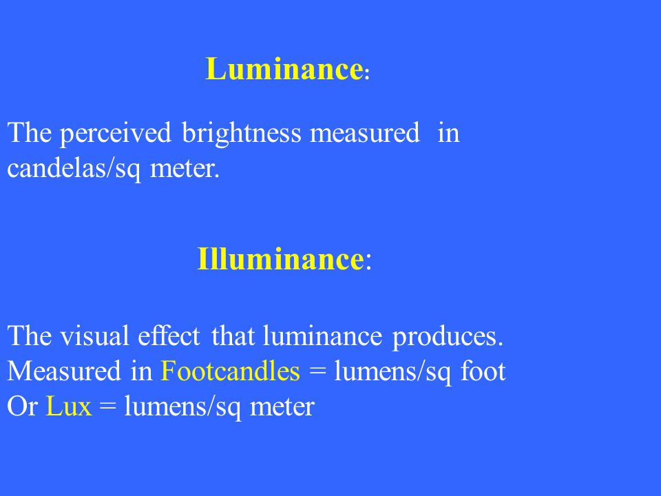 Illuminance: The perceived brightness measured in candelas/sq meter.