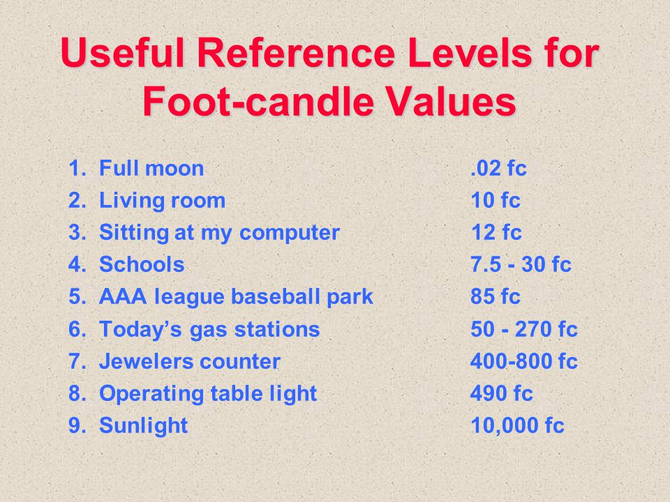 Useful Reference Levels for Foot-candle Values