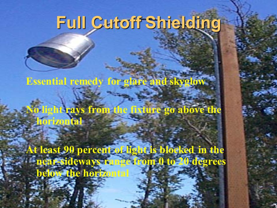 Full Cutoff Shielding Essential remedy for glare and skyglow