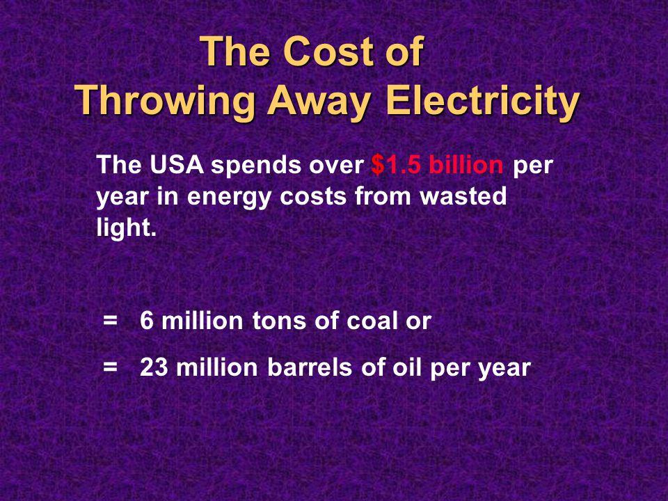 The Cost of Throwing Away Electricity