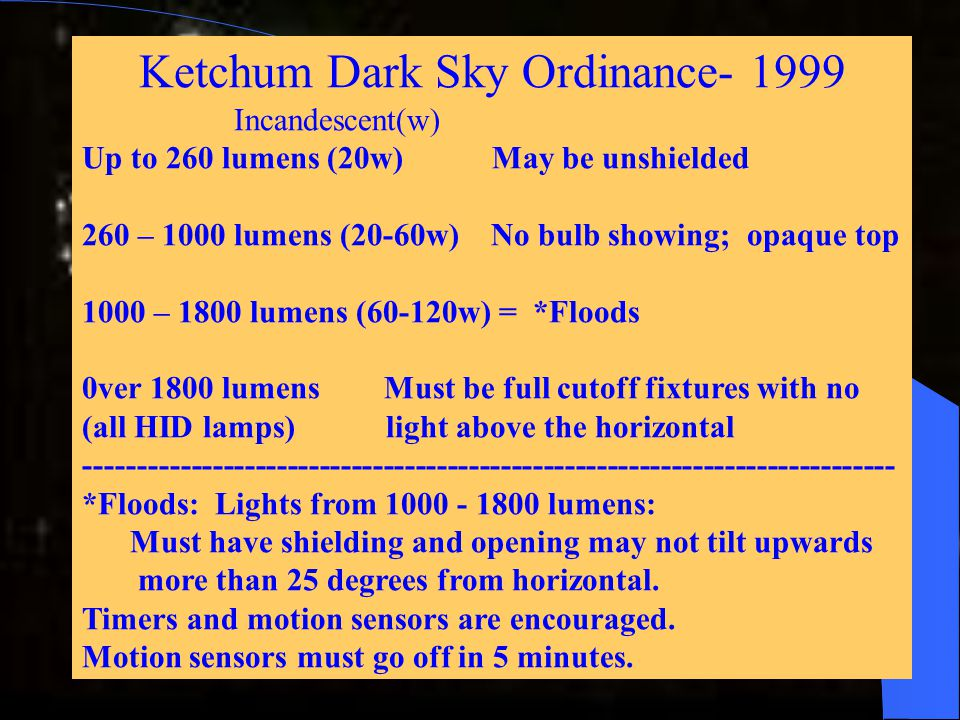 Ketchum Dark Sky Ordinance- 1999