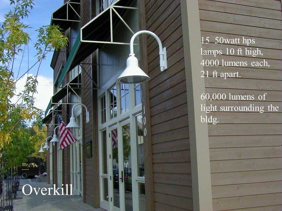 Overkill 50watt hps lamps 10 ft high, 4000 lumens each, 21 ft apart.