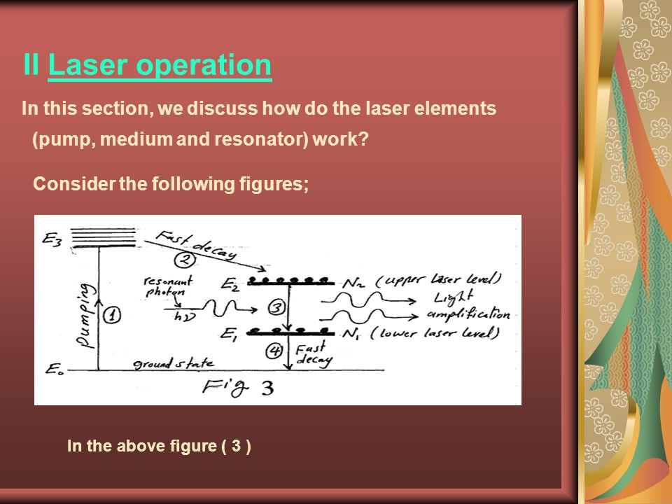 II Laser operation Consider the following figures;