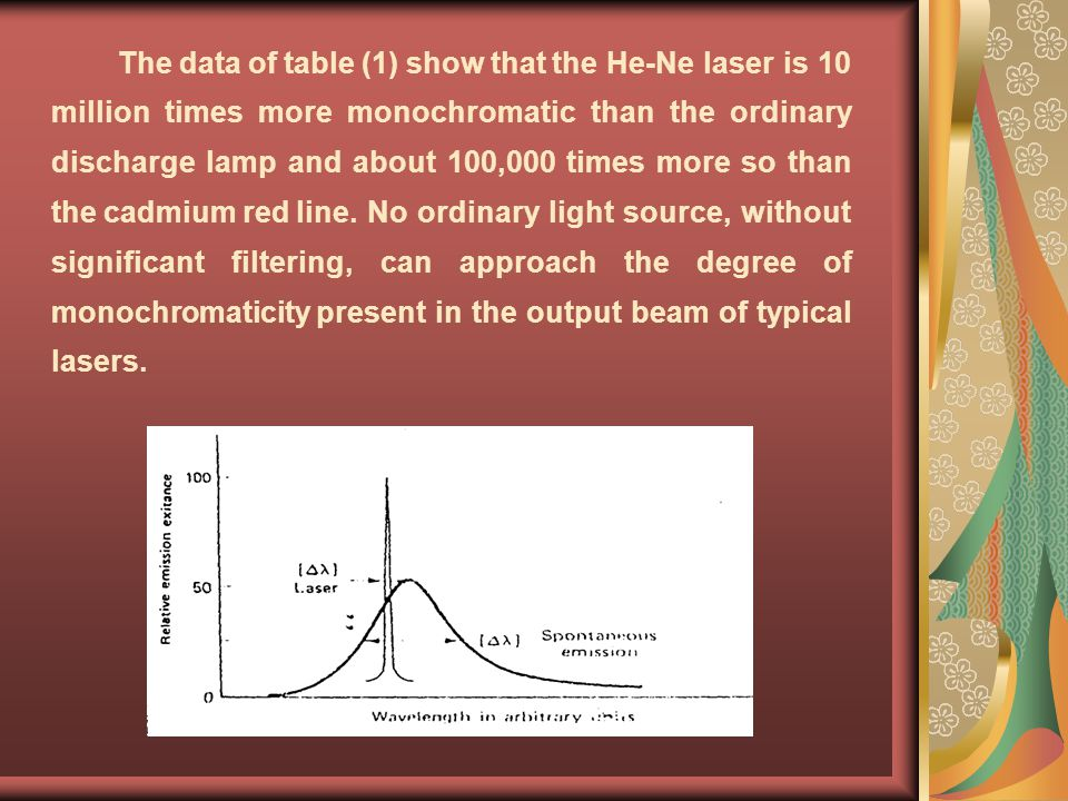 The data of table (1) show that the He-Ne laser is 10 million times more monochromatic than the ordinary discharge lamp and about 100,000 times more so than the cadmium red line.