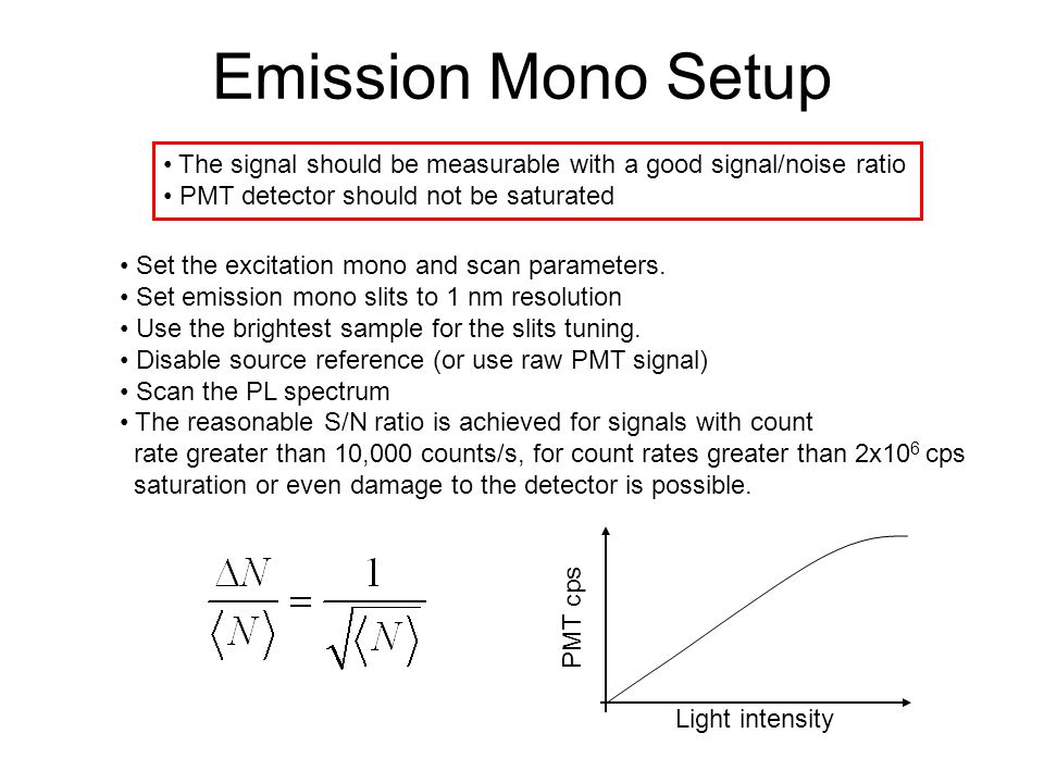 Emission Mono Setup The signal should be measurable with a good signal/noise ratio. PMT detector should not be saturated.