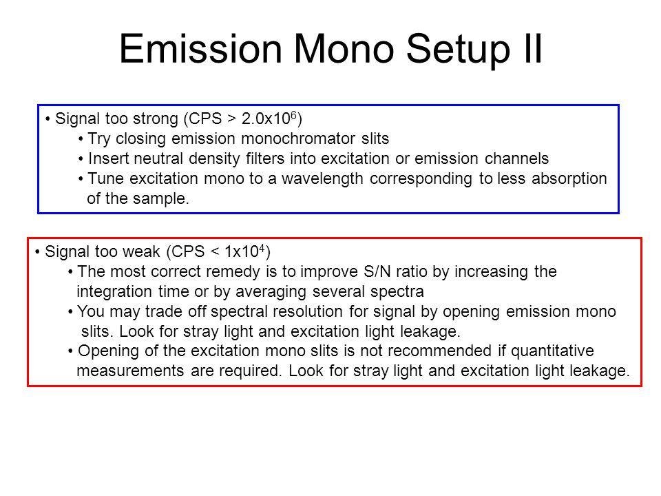 Emission Mono Setup II Signal too strong (CPS > 2.0x106)