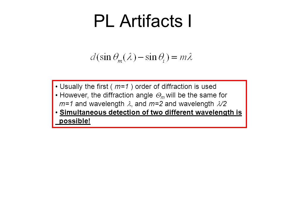 PL Artifacts I Usually the first ( m=1 ) order of diffraction is used