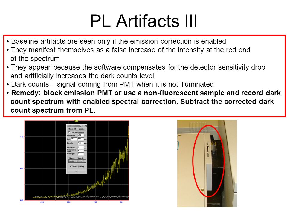 PL Artifacts III Baseline artifacts are seen only if the emission correction is enabled.