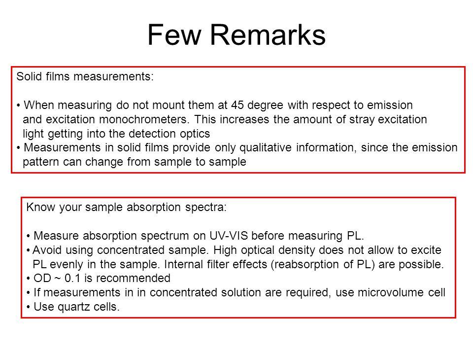 Few Remarks Solid films measurements: