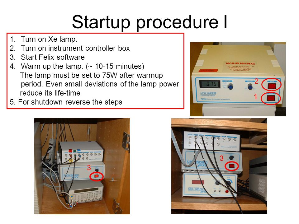Startup procedure I Turn on Xe lamp. Turn on instrument controller box
