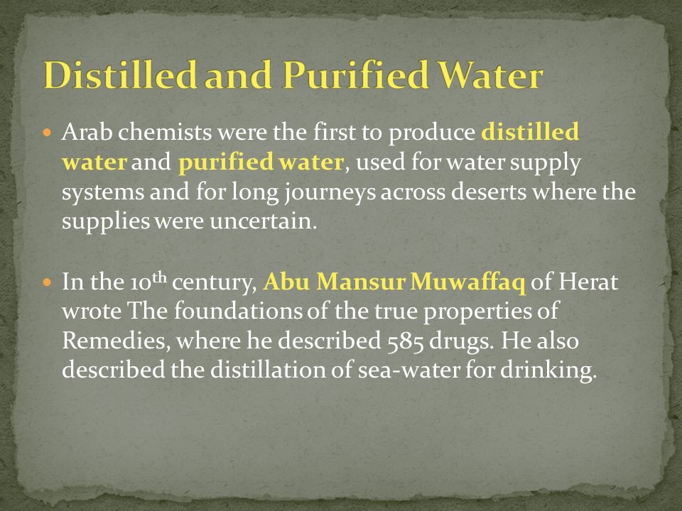 Distilled and Purified Water