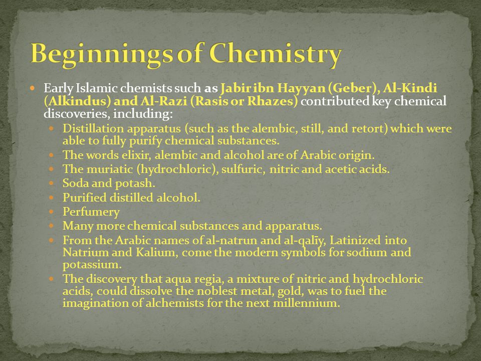 Beginnings of Chemistry