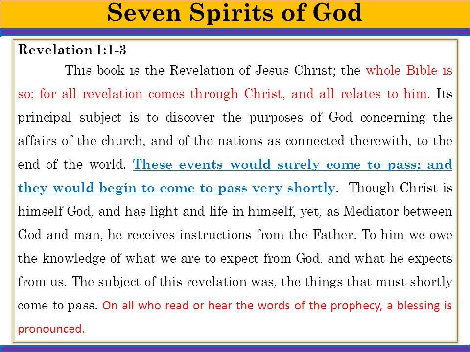 Seven Spirits of God Revelation 1:1-3