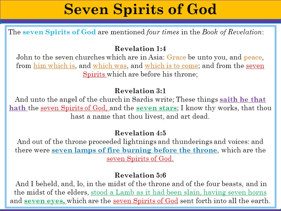 Seven Spirits of God The seven Spirits of God are mentioned four times in the Book of Revelation: Revelation 1:4.
