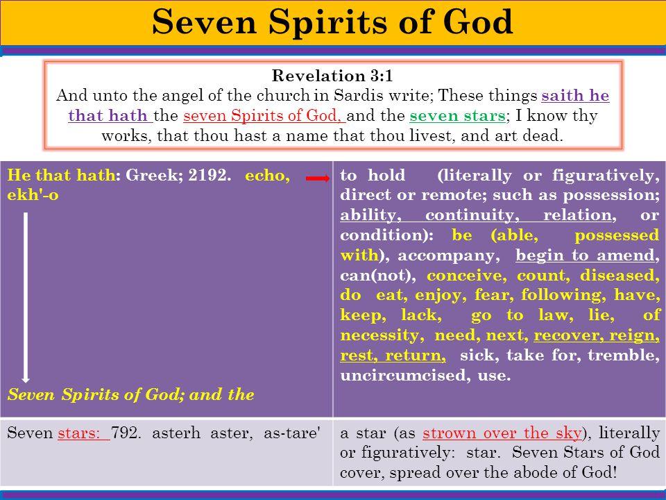 Seven Spirits of God Revelation 3:1