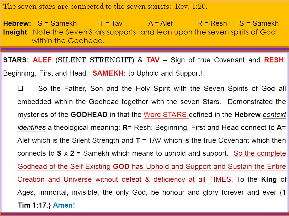 The seven stars are connected to the seven spirits: Rev. 1:20.