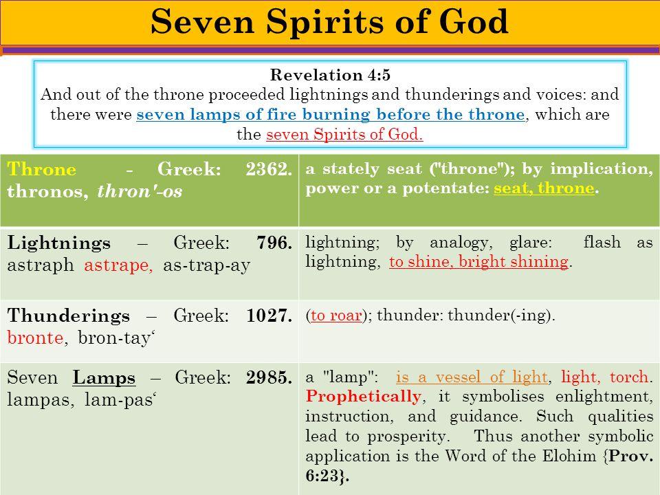 Seven Spirits of God Throne - Greek: 2362. thronos, thron -os