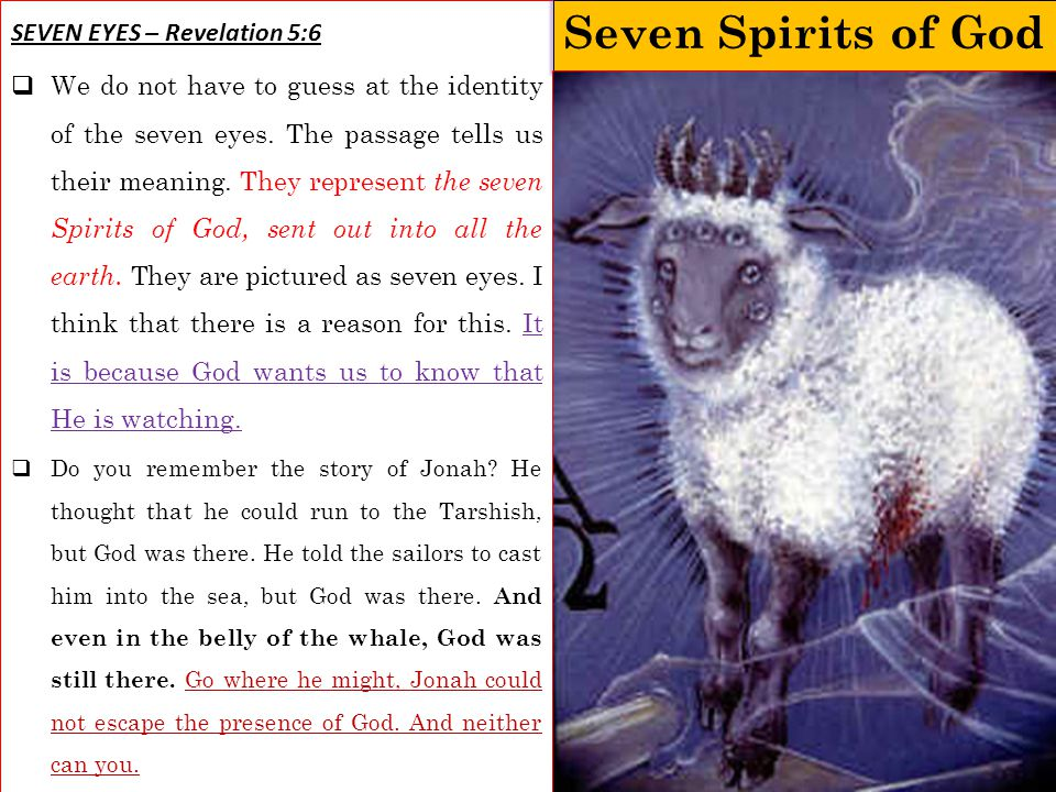 Seven Spirits of God SEVEN EYES – Revelation 5:6