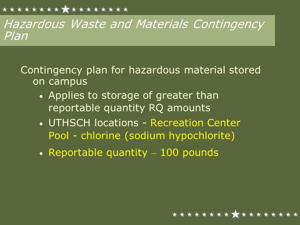 Hazardous Waste and Materials Contingency Plan