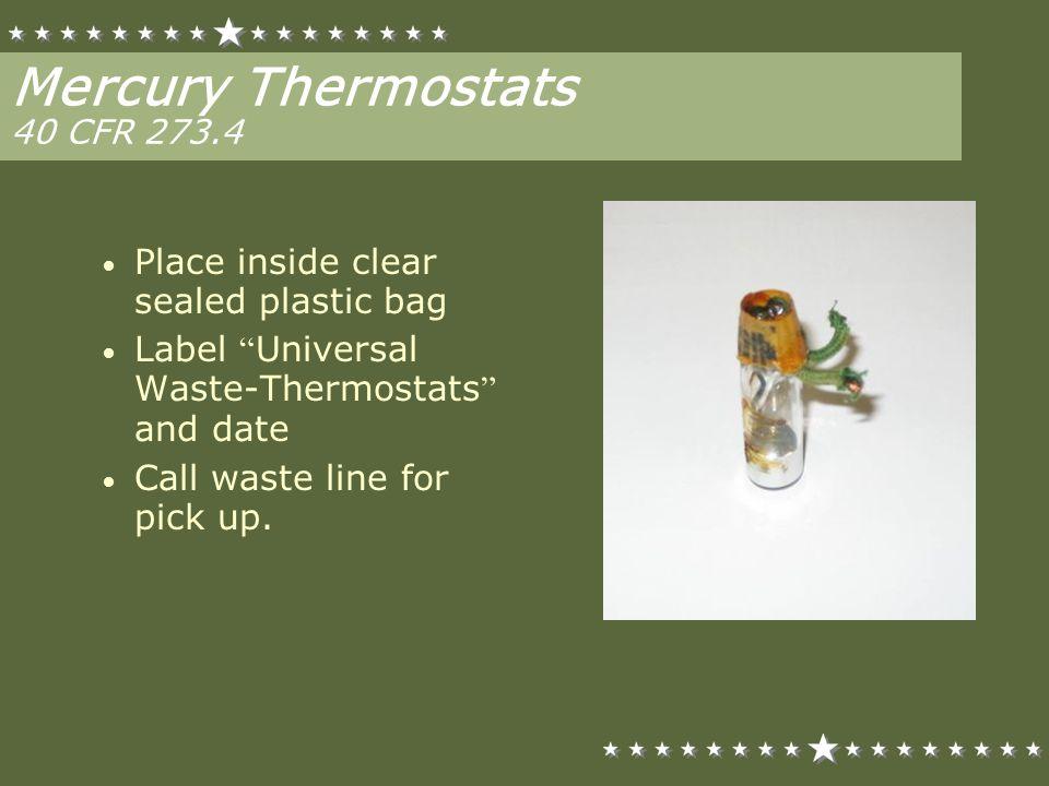 Mercury Thermostats 40 CFR 273.4