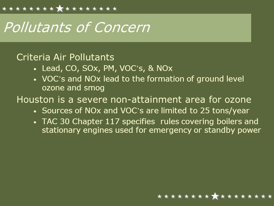 Pollutants of Concern Criteria Air Pollutants