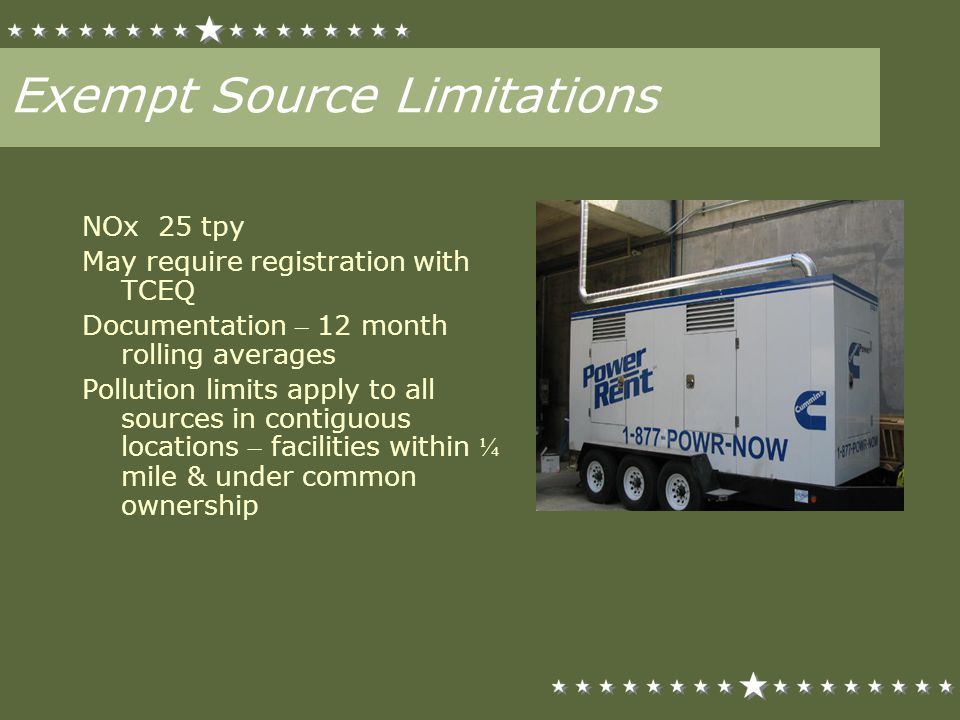 Exempt Source Limitations