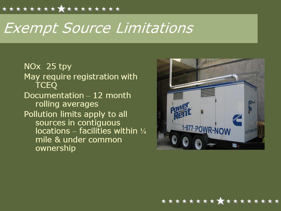 Exempt Source Limitations